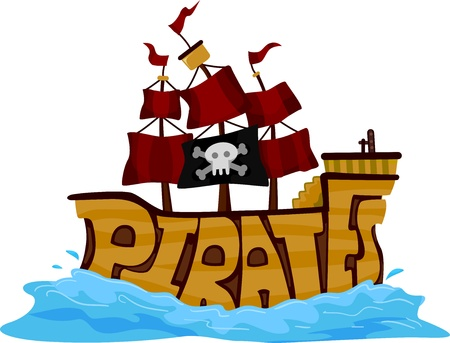 pirate cartoon: Text Illustration of a Pirate Ship on the water Stock Photo