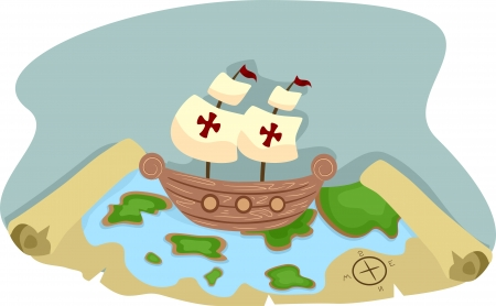 plunder: Illustration of Pirate Ship and Pirate Treasure Map