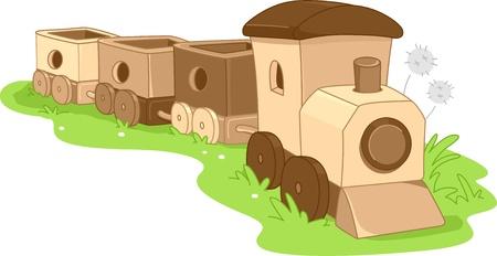 Illustration of a Wooden Toy Train illustration
