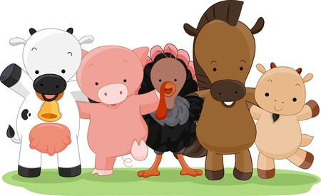 anthropomorphic: Cartoon Illustration of Different Farm Animals Stock Photo
