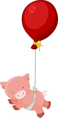 Illustration of a floating pig tied in a red balloon illustration