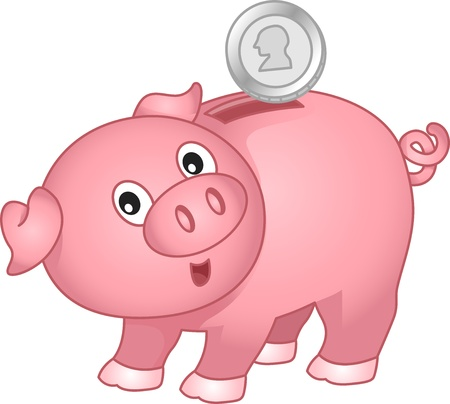 thrift box: Illustration of a Piggy Bank with coin