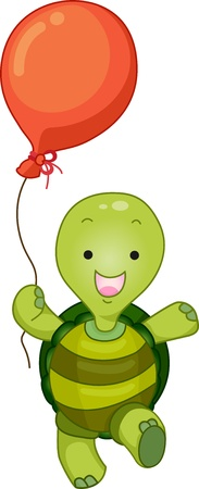 Cartoon Illustration of a Standing Turtle Mascot with Balloon illustration