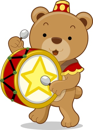 Cartoon illustration of a circus bear as a drummer illustration