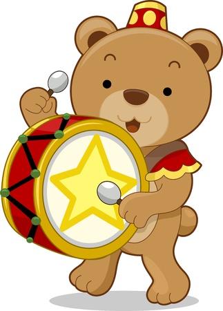 animales del zoologico: Cartoon ilustración de un oso de circo como batería Foto de archivo