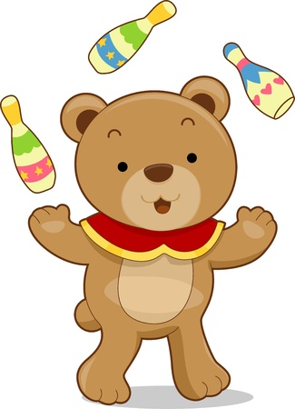 Cartoon illustration of a circus bear juggling bowling pins Stock Illustration - 17581414