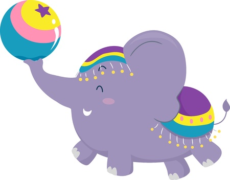 Cartoon illustration of a Circus Elephant balancing a Circus Ball illustration