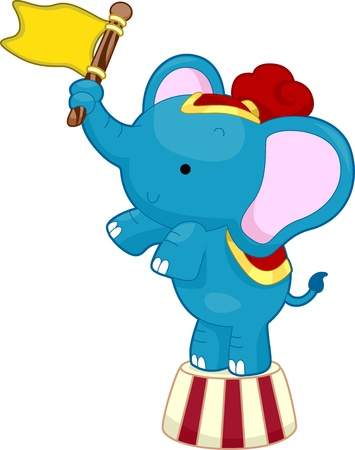 Cartoon Illustration of Circus Elephant waving a flag while balancing on top of a circus platform Stock Illustration - 17581419