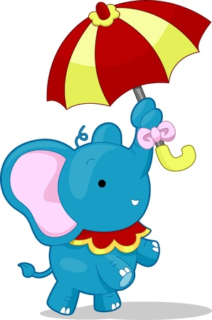 cartoonize: Cartoon llustration of a Circus Elephant balancing and holding an umbrella with its nose