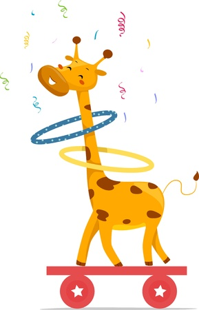 Cartoon illustration of a Giraffe playing hula hoops on top of a balancing board Stock Illustration - 17581340