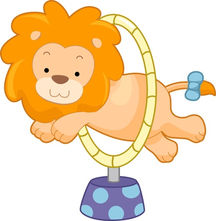 Cartoon illustration of a Circus Lion jumping through hoop sideview illustration