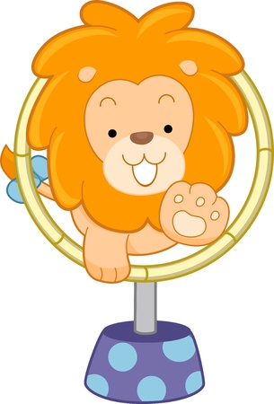 Cartoon illustration of a Circus Lion jumping through hoop front view illustration