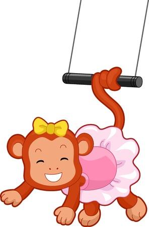 animales de circo: Ilustraci�n de dibujos animados de un mono de circo con la cola enrollada en un trapecio volador Foto de archivo