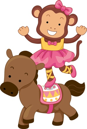 circus animals: Cartoon Ilustraci�n de equilibrio del mono del circo en la parte posterior de un caballo