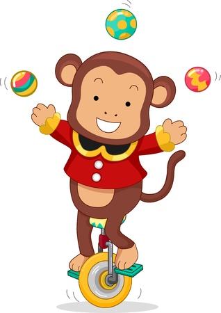 circo: Ilustración de dibujos animados de un mono de circo montar un monociclo mientras hacía malabares bolas