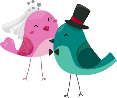 cartoon wedding couple: Illustration of Bride and Groom Birds Stock Photo