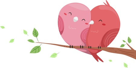enamorados caricatura: Ilustración de los pájaros del amor posado en una rama de un árbol tiene forma de corazón-como