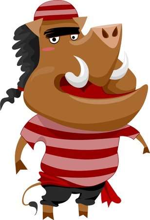 Illustration of a Wild Boar Pirate wearing a Striped Red Shirt illustration