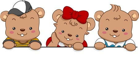 Illustration of Three Cute Bears holding a Blank Board illustration