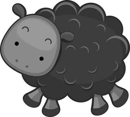 schwarzes schaf: Illustration eines Black Sheep
