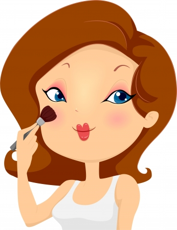 blush: Illustration of a Girl Applying Blush Makeup on her Cheeks with a Brush Stock Photo