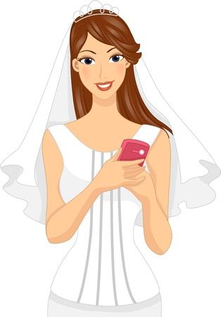 Illustration of a Bride Holding a Mobile Phone Stock Illustration - 17581442