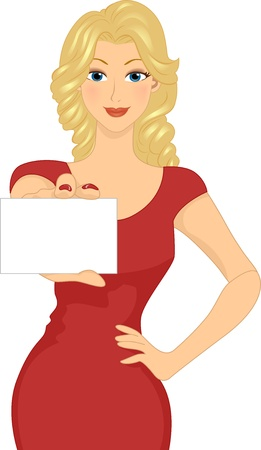 namecard: Illustration of a Girl Holding a Blank Business Card Stock Photo