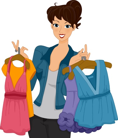 retail therapy: Illustration of a Female Shoppers Carrying Different Kinds of Clothes Stock Photo