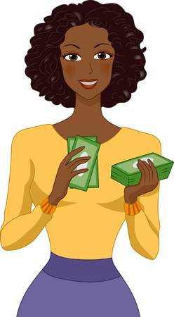 counting money: Illustration of a Black Woman Counting Money Stock Photo