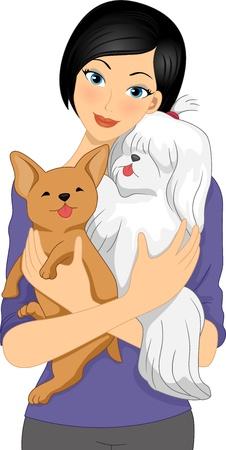 lap dog: Illustration of a Girl Cuddling a Shih Tzu and a Chihuahua