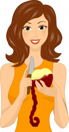 Illustration of a Woman Peeling a Red Apple Stock Illustration - 17581394