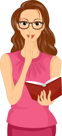 the reader: Illustration of a Bespectacled Girl Holding a Book Doing the Hush Sign Stock Photo