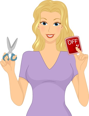 discount card: Illustration of a Girl Holding a Discount Card in One Hand and a Pair of Scissors in the Other
