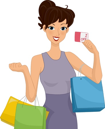 discount card: Illustration of a Female Shopper Holding a Discount Card in One Hand and Carrying Shopping Bags with Both Arms Stock Photo