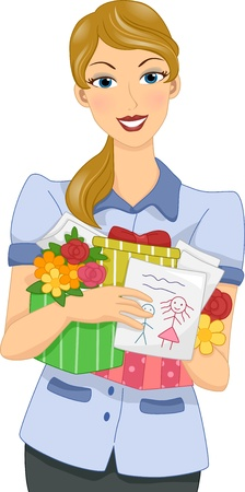 educator: Illustration of a Female Teacher Holding Mothers Day Gifts from Her Students Stock Photo