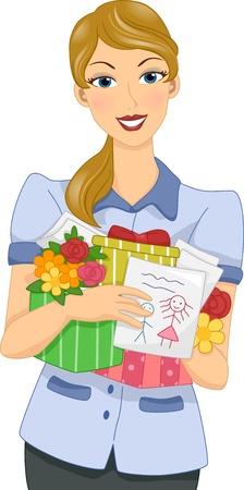 educators: Ilustración de una mujer sosteniendo Teacher regalos del día de madre de sus estudiantes Foto de archivo