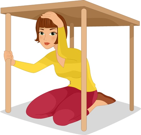 earthquakes: Illustration of a Woman Hiding Under a Table