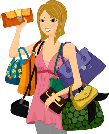 purse: Illustration of a Woman Carrying an Assortment of Bags Stock Photo