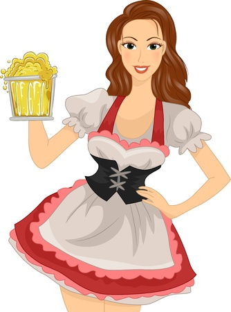 german girl: Illustration of a Woman in a German Costume Holding a Mug of Beer