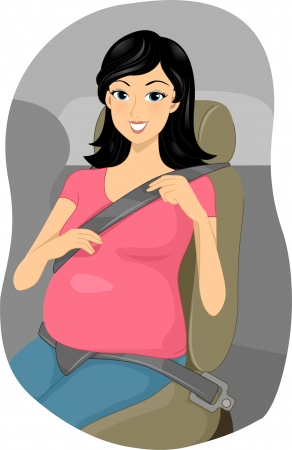 Illustration of a Pregnant Girl Putting Her Seatbelt on illustration