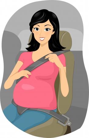 seatbelt: Illustration of a Pregnant Girl Putting Her Seatbelt on Stock Photo