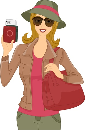 Illustration of a Woman Showing Her Passport Stock Illustration - 17581438