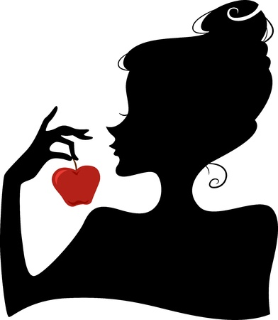 seduction: Illustration Featuring the Silhouette of a Woman Holding a Red Apple