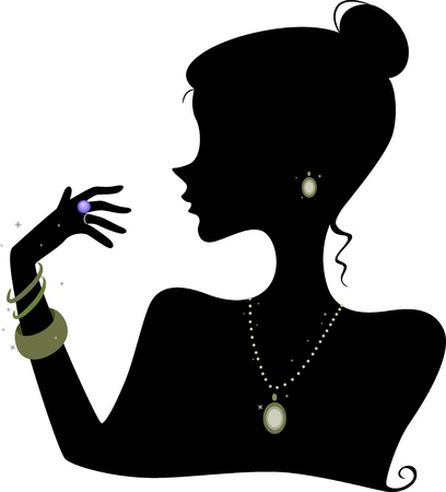 Illustration Featuring the Silhouette of a Woman Wearing Various Accessories Фото со стока