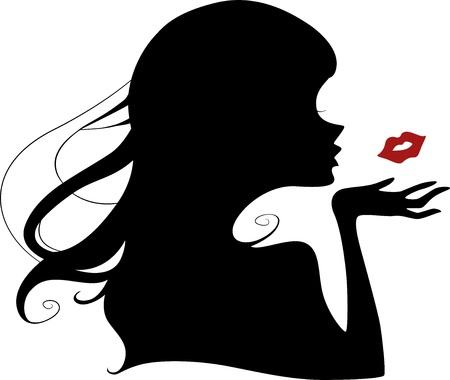 zoenen: Illustratie die het silhouet van een vrouw blaast een kus