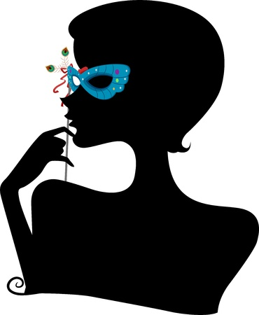 Illustration Featuring the Silhouette of a Woman Wearing a Masquerade Mask Stock Illustration - 17581311