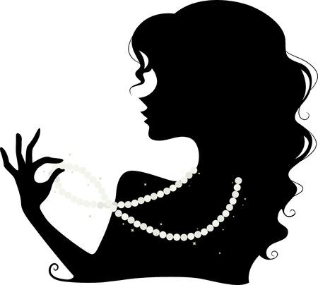 colliers: Illustration Avec la silhouette d'une femme portant un collier de perles