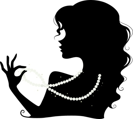 Illustration Featuring the Silhouette of a Woman Wearing a Pearl Necklace illustration