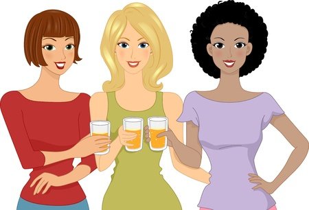 Illustration of Girls Holding a Glass of Beer Each illustration