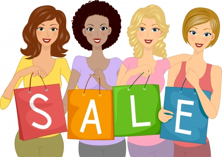 Illustration of Girls Carrying Shopping Bags with the Word Sale Written on Them illustration